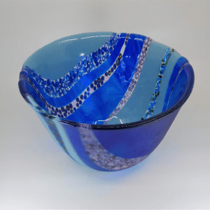 Deep Blue Bowl with Hand Pulled Murrini